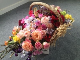 Basket of Mixed Roses & Sweet Peas